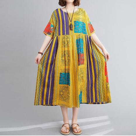 lässiges Kleid mit neuem Ethno-Stil und losem Druck NHJC323735's discount tags