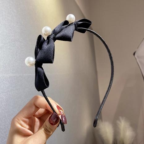 Diadema de perlas con lazo negro de Corea NHWF323772's discount tags