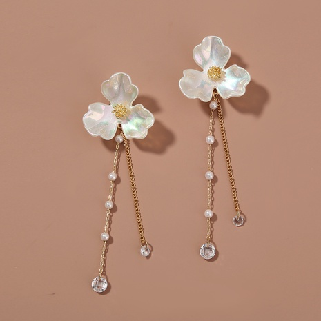 retro three petal flower long tassel zircon earrings NHAN323813's discount tags