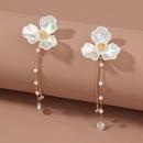 retro three petal flower long tassel zircon earrings NHAN323813