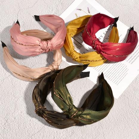 Kreuzgeknotetes breitbandiges Stirnband mit koreanischer Metallkette NHAQ323838's discount tags