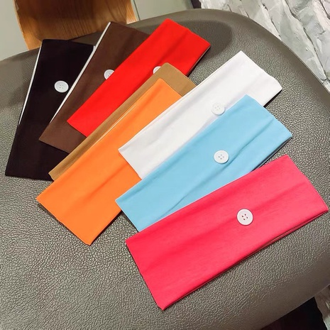 fashion simple sports solid color sweat-absorbent button headband NHAQ323843's discount tags