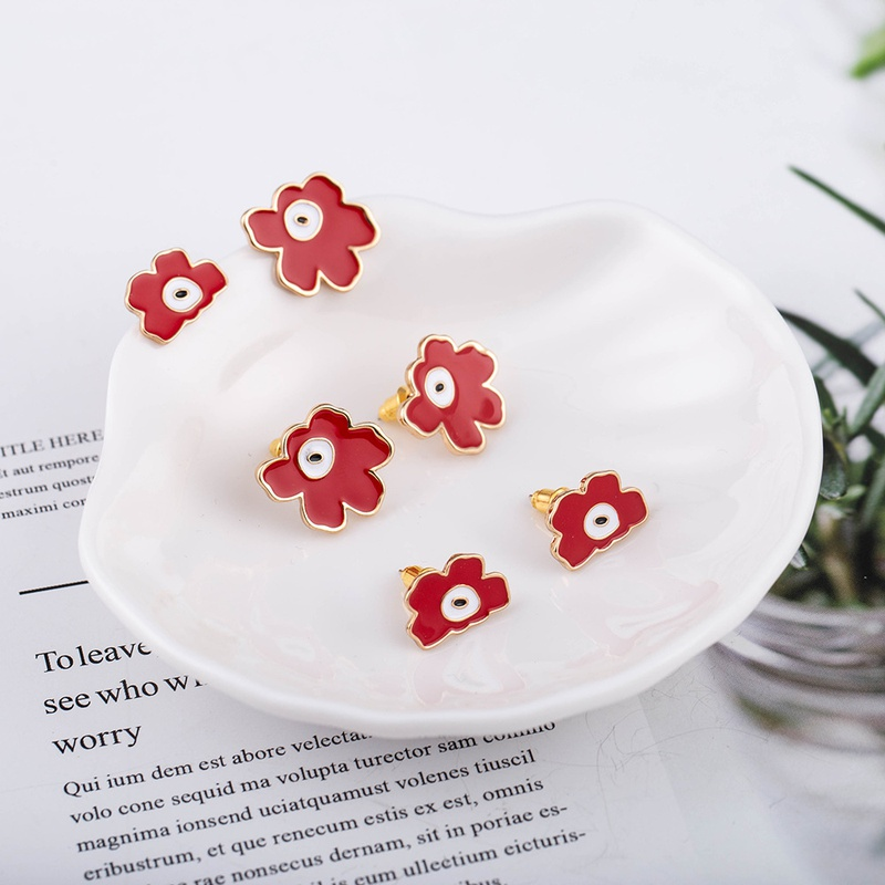 Korean fashion dripping oil flower earrings NHQS323898