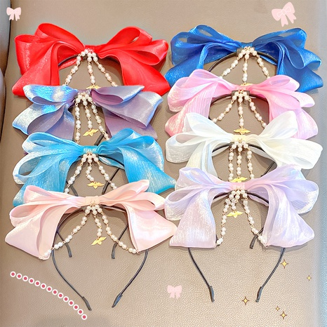 Korea Bowknot Chain Hairband NHNA323951's discount tags