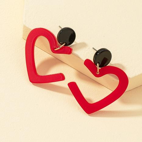 fashion red acrylic heart-shaped earrings NHQJ323966's discount tags
