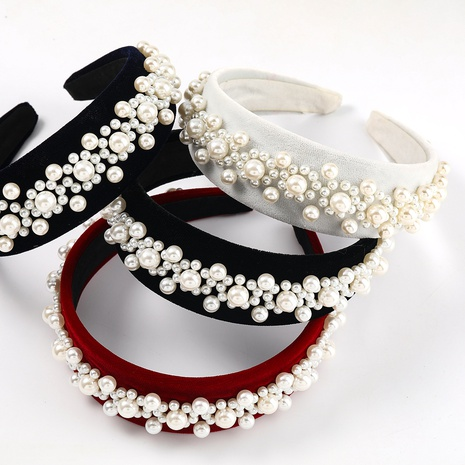 diadema de flores de perlas con incrustaciones de franela de moda NHJE323995's discount tags