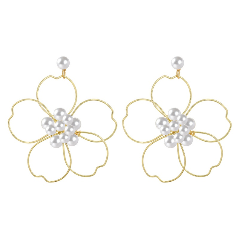 Korean Handwoven flower pearl earrings  NHJQ324016