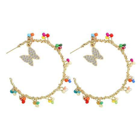 handgewebte bunte Perlen Diamanten Schmetterlinge Ohrringe NHJQ324017's discount tags