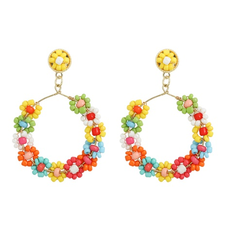 hand-woven beads flower alloy earrings NHJQ324022's discount tags