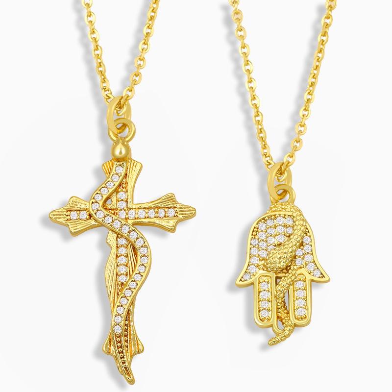 Snake Shape Cross Diamond Palm Pendant Necklace  NHAS324046