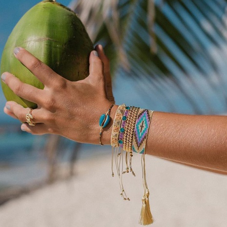 bohemian rice beads multi-layered bracelet NHGW324052's discount tags