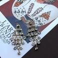 NHOM1494876-White-rhinestone-tassel-earrings-7.8cm