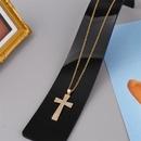 Copper Inlaid Zirconium Cross Necklace  NHLA324096
