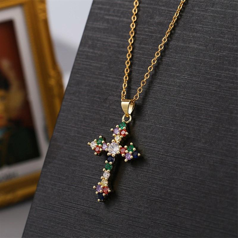 colorful cross copper inlaid zirconium necklace  NHLA324107