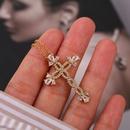 exaggerated cross copper inlaid zirconium necklace  NHLA324109