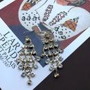 Golden geometric long tassel feather diamond earrings NHOM324135