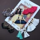Colorful tassel fanshaped earrings  NHOM324143
