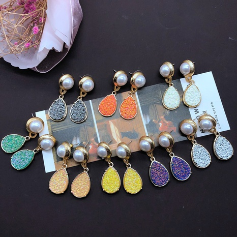 fashion drop-shaped colored resin pendant earrings NHOM324145's discount tags