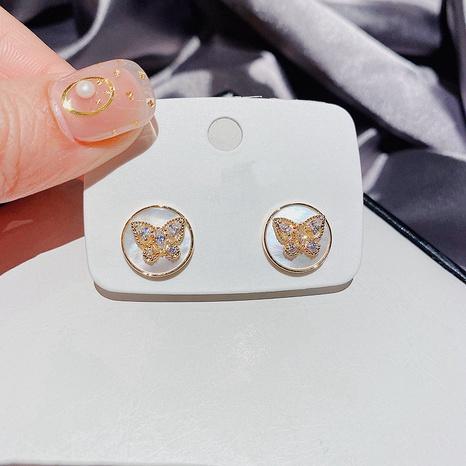 Koreanische runde Muschel Zirkon Schmetterling Ohrringe NHCG324171's discount tags