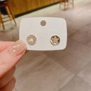 Koreanische einfache mikroeingelegte ZirkonOhrringe mit fnf spitzen Sternen NHCG324175