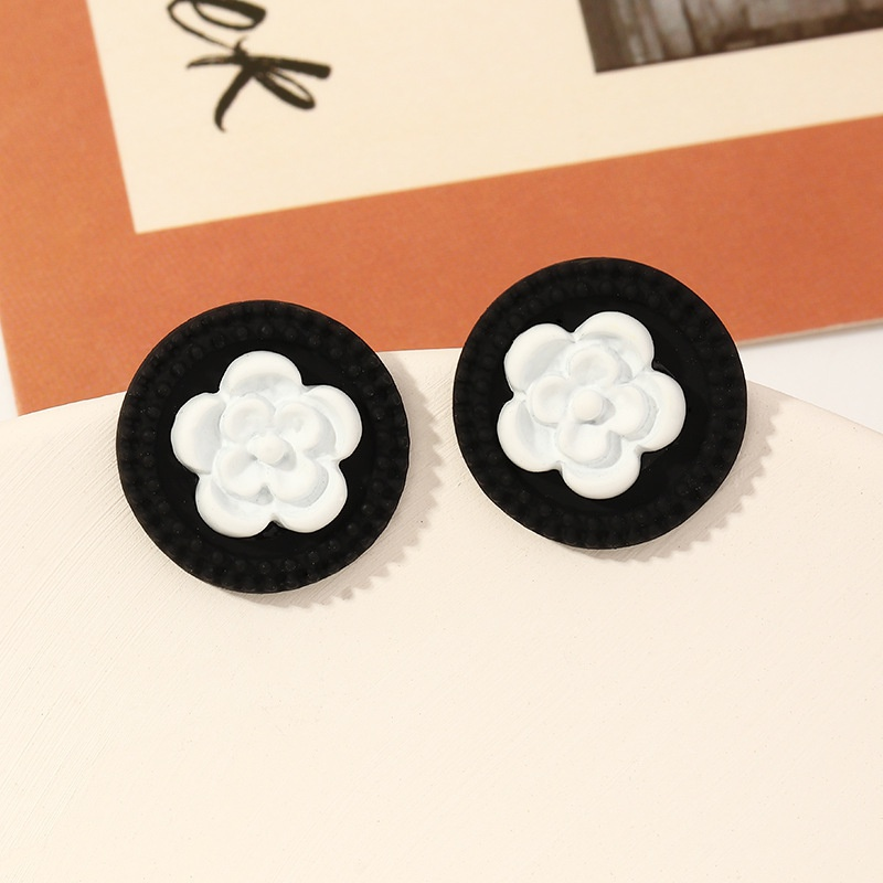 fashion flower black and white earrings NHNZ324216