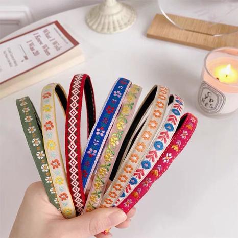 Retro Stickerei Blume dünnkantiges Stirnband NHAQ323841's discount tags