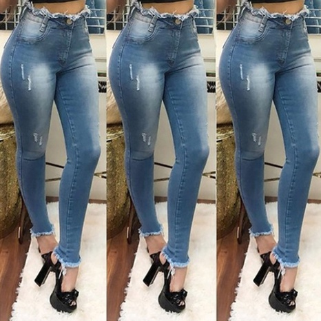 Fashion straight high waist stretch jeans for women NHWA324637's discount tags