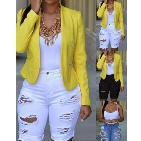 Women's summer temperament broken hole all-match solid color denim shorts NHWA324646's discount tags