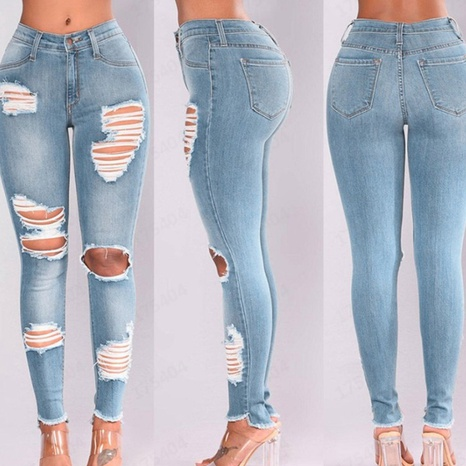 Women's spring new high-waisted buttocks elastic ripped jeans NHWA324643's discount tags