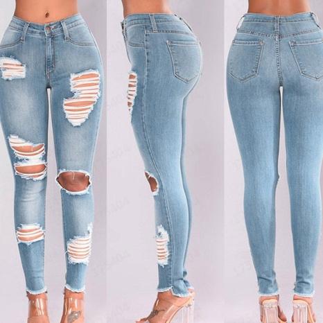 Damen Frühling neue hoch taillierte Gesäß elastische zerrissene Jeans NHWA324643's discount tags