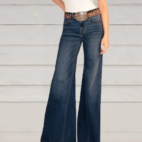 Retro solid color high waist loose jeans for women NHWA324645's discount tags