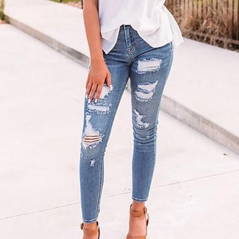 Spring Frauen hoch taillierte elastische Loch einfarbige Jeans für Frauen NHWA324644's discount tags