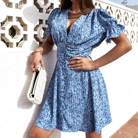 Modisch bedrucktes kurzes Kleid mit sexy Knöpfen NHWA324640's discount tags
