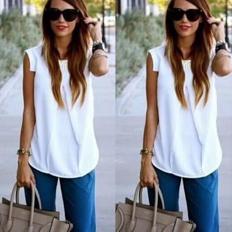 Sommer Damenmode ärmelloses plissiertes einfarbiges T-Shirt NHWA324639's discount tags