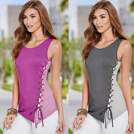 Sommerfarbene Damenmode farblich passende Krawatte ärmellose Rundhalsbluse NHWA324638's discount tags
