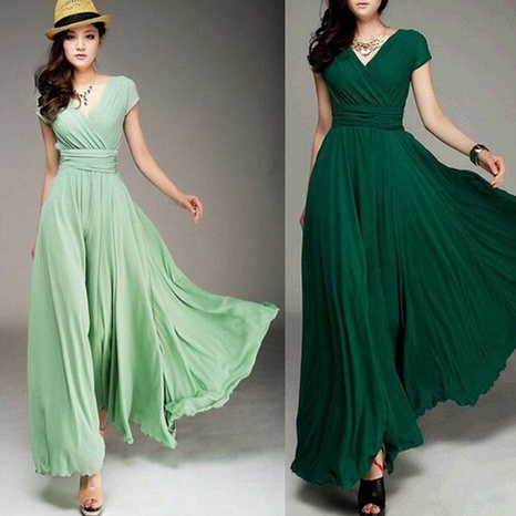 Damen Sommer sexy V-Ausschnitt einfarbig kurzärmelige Bohemienkleid NHWA324652's discount tags