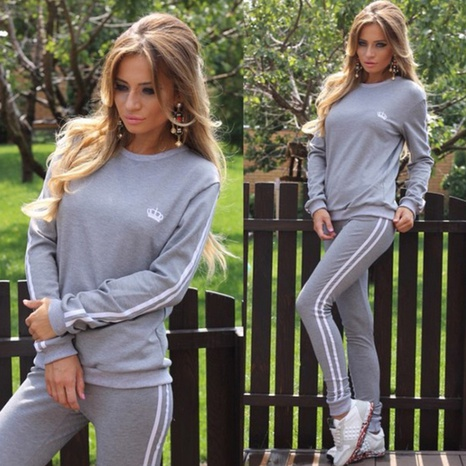 Women's fashion round-neck embroidery casual sporty clothes set NHWA324654's discount tags