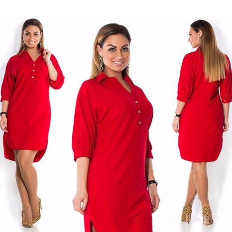 Fashion Lapel Split Sexy Irregular T-Shirt Dress NHWA324657's discount tags