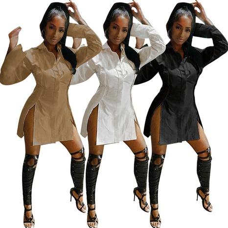 Sommer sexy Nähte einfarbig unregelmäßig geteilte T-Shirt-Kleid mit hoher Taille NHWA324655's discount tags