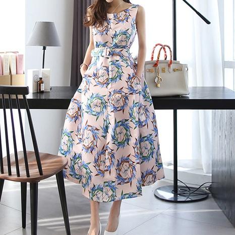new korean elegant round printed big swing dress NHZN324274's discount tags