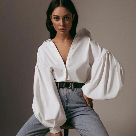 Nueva blusa tejida en color liso de estilo británico NHJC324265's discount tags
