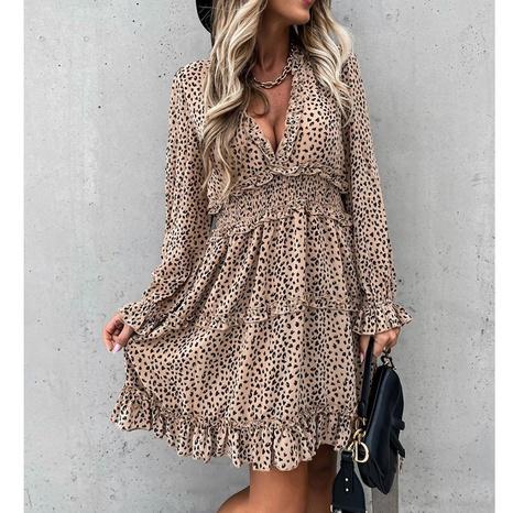New Fashion langärmeliges elastisches Taillenkleid mit Rüschendruck NHJG324262's discount tags