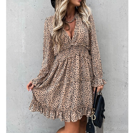 New fashion long-sleeved elastic waist ruffle print dress NHJG324262's discount tags