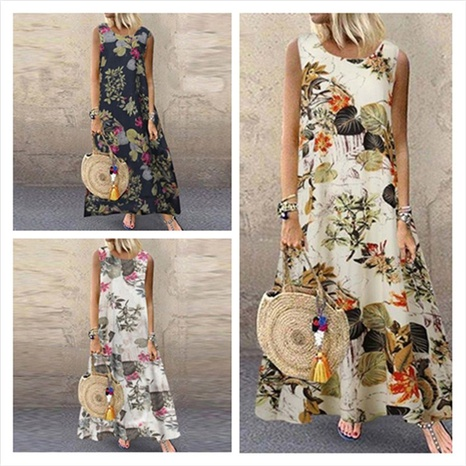 new fashion floral print sleeveless round dress NHIS324256's discount tags