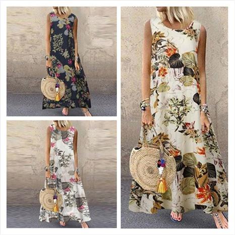ärmelloses rundes Kleid mit Blumenmuster und neuer Mode NHIS324256's discount tags