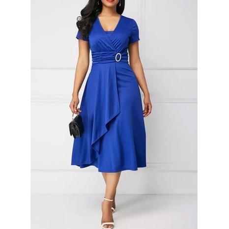 New Fashion einfarbiges kurzärmeliges Kleid mit V-Ausschnitt NHJG324251's discount tags