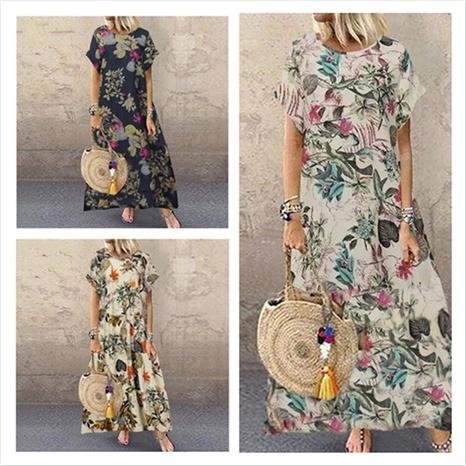 neues kurzärmeliges rundes Kleid mit Retro-Blumendruck NHIS324248's discount tags