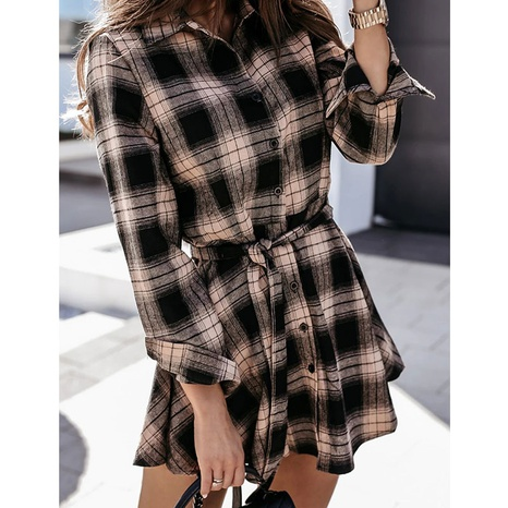 neue Mode Sexy Printed Plaid Kleid NHJG324241's discount tags