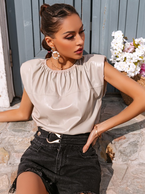 Blusa sin mangas de albaricoque simple de moda NHDE324258's discount tags