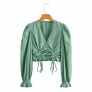 wholesale Vneck lantern sleeve blouse NHAM324313